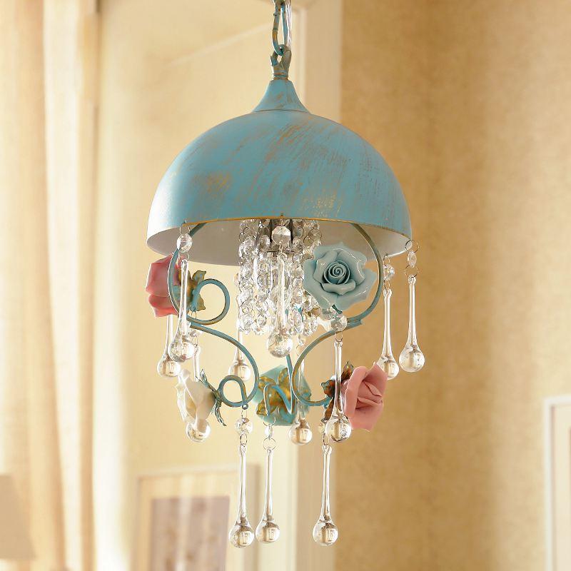 Пасторальный Керамика Роза Спальня подвесной светильник Творческий солнце номер подвесные светильники коридор Спальня балкон подвесной с
