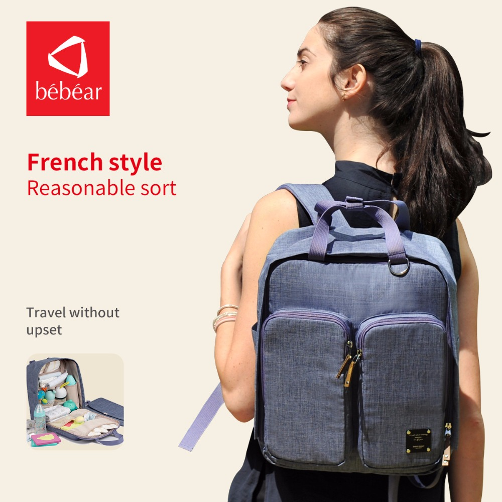 2018 Bebear Diaper Bag with Fashion style backpack floral Baby Nappy Bag Travel Mather Bags Ladies Handbag wet bag bebear new baby diaper bag with exclusive insulated bag mother nappy bags travel backpack waterproof handbag for moms tote bags