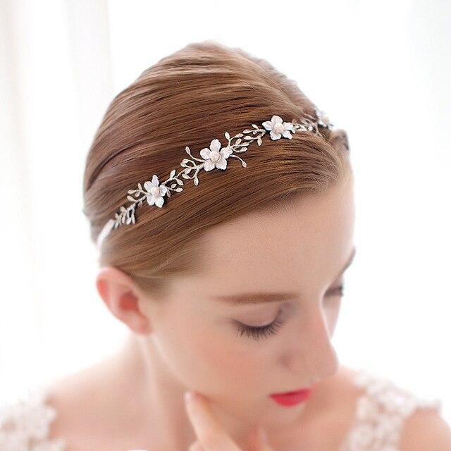 Elegant Luxury Ribbon Pearls Flower Clear Rhinestones Silver Wedding Hair Vine Headband Bridal Headpiece