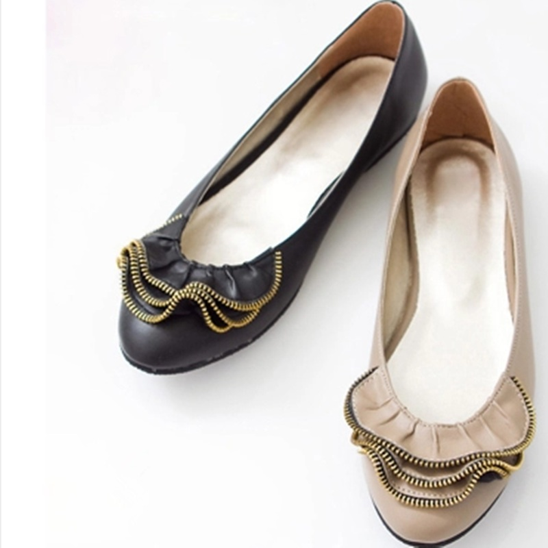 e5ac85cd4 Señora retro más tamaño 35-47 casual cadena personalizada punta redonda  cuero genuino de las mujeres reales girando sobre Zapatos en plataforma  slip-on