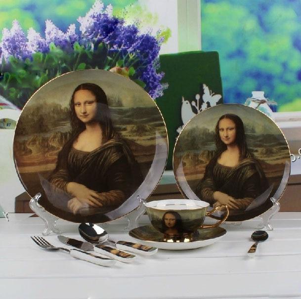 Mona Lisa Pattern Oil Painting Best Porcelain Dinnerware Spoon and Fork Set Bone China Dinnerware Sets & Mona Lisa Pattern Oil Painting Best Porcelain Dinnerware Spoon and ...