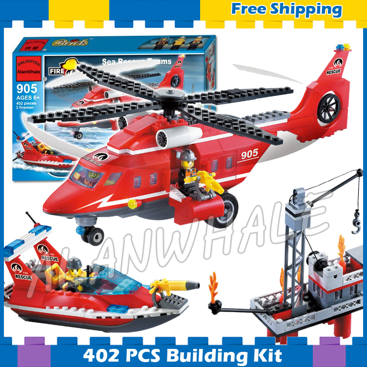404pcs New City Fire Helicopter Boat Sea Rescue 905 Large Model Building Blocks Response Unit Children Sets Compatible with <font><b>Lego</b></font> image
