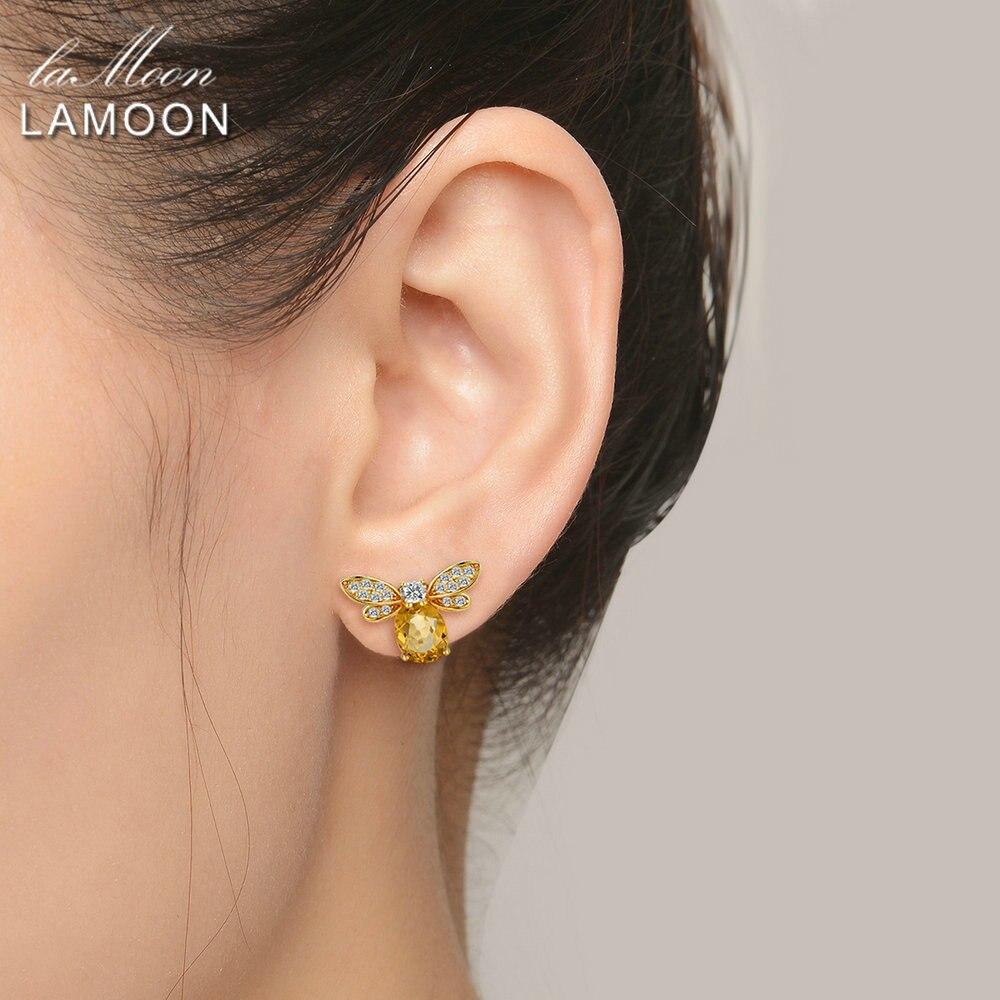 LAMOON Bee Earring For Women 925 Sterling Silver Citrine Gemstone Stud Earrings 14K Yellow Gold Plated LAMOON Bee Earring For Women 925 Sterling Silver Citrine Gemstone Stud Earrings 14K Yellow Gold Plated Fine Jewelry LMEI041