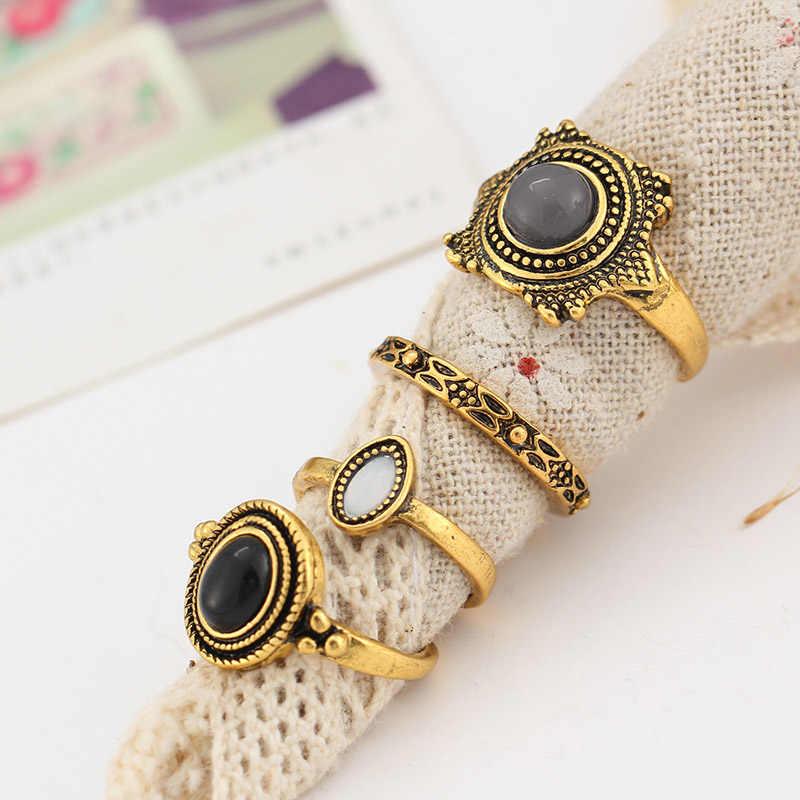 Conjunto de anillos únicos de 4 piezas para Mujer anillo chapado en oro/plata para Mujer joyería amor Mujer nudillo Punk anillo fiesta