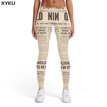 KYKU Brand Newspaper Leggings Women Black And White Sport Character Spandex Gothic Sexy Punk Rock Elastic Womens Pants