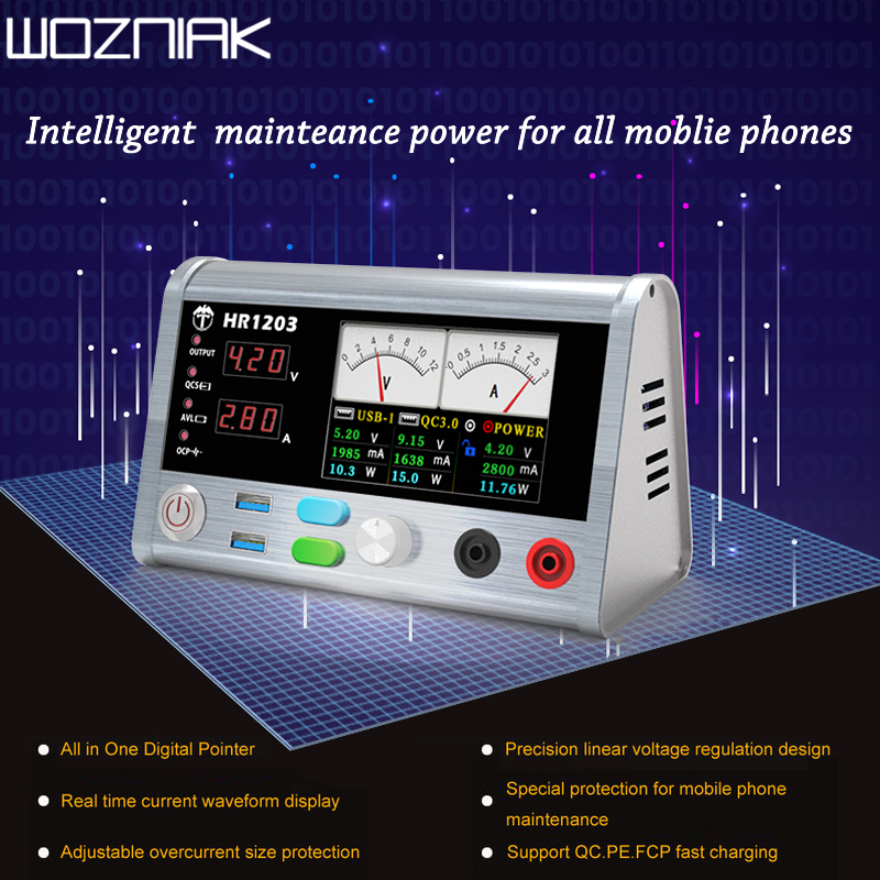 HR1203 Mobile phone Repairs Intelligent Voltage Regulator Current Power Meter 3A Current Oscilloscope for Iphone for