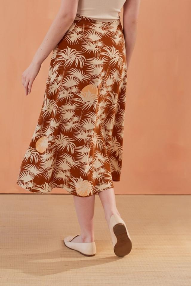 Женская юбка, коллекция весна лето 2019, винтажная однобортная юбка с пальмовым принтом