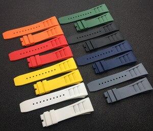 Image 5 - למעלה איכות מיובא טבע רך סיליקון גומי שחור רצועת השעון שעון להקת עבור mille רצועת עבור RM רצועת 011 עבור ריצ רד רצועה