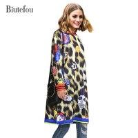2017 New Arrival Winter Cartoon Leopard Print Loose Dresses Women Casual Long Sleeve O Neck Plus