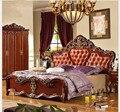 Cama de estilo europeo cama de cuero 1800*2000mm platino fila marco de la cama