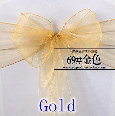 Gold Color Organza Sash Chair Sash Crystal Sash Wedding Party Hotel Show Decoration Shimmer Shiny Bow Tie Chair Band