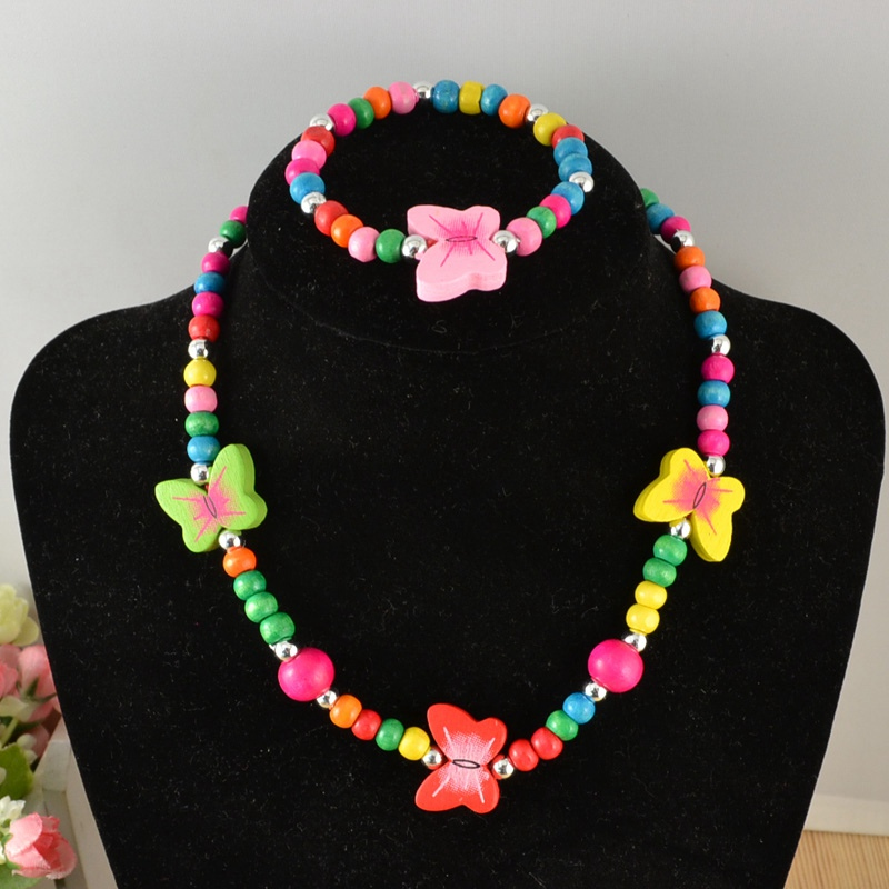 Cartoon Girl Head Beads Necklace Spacer Kids Bracelet Findings Jewelry Making