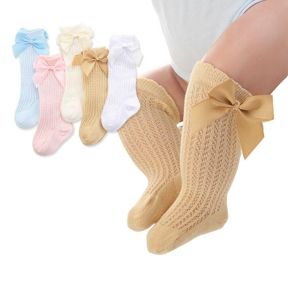 Гольфы для маленьких мальчиков и девочек, колготки, гетры с бантом из ленты, однотонные хлопковые Стрейчевые милые и милые носки для маленьк...