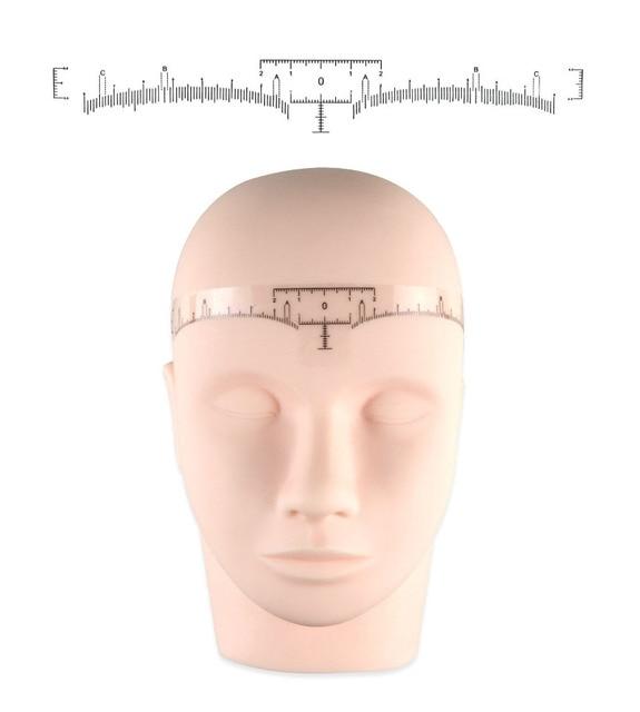 100pcs Disposable Semi Permanent Eyebrow Ruler, Microblading Calliper Stencil Makeup Eye Brow Measure Tool Eyebrow Guide Ruler