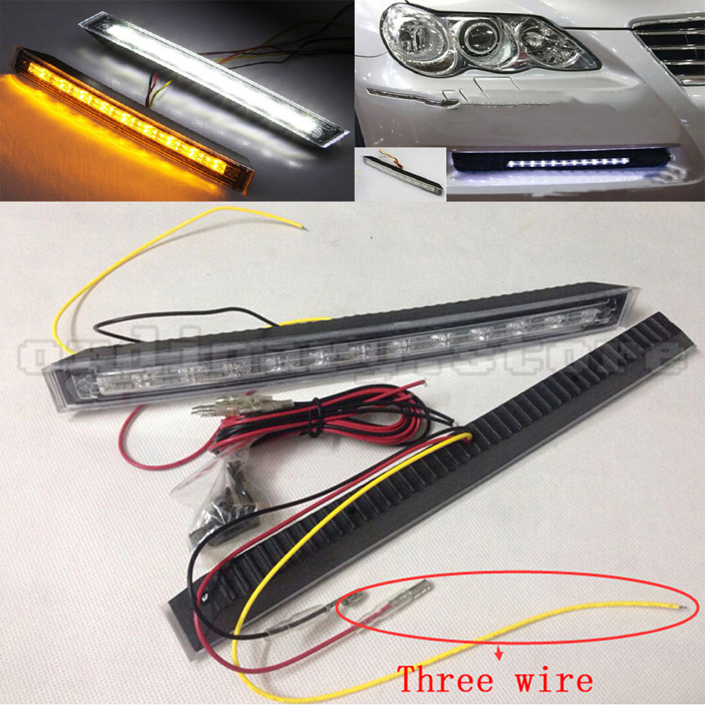1 Pair 12 LED Car DRL Headlight Headlamp Driving Daytime Running Fog Lamp Daylight White DRL & Amber Turn Signal Light 12V 1 pair 12 led strip flexible snake style eagle eye car drl daytime running light driving daylight safety day fog lamp