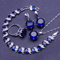 Classic Blue Created Sapphire 925 Sterling Silver Jewelry Sets For Women Sliver Earrings/Pendant/Necklace/Rings/Bracelets