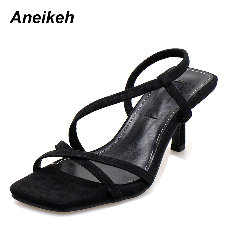 Aneikeh Fashion 2019 Flock Black Thin Belt Women Sandals Thin High Heels Square Toes Dance Gladiator Shoes Shallow Solid 35-39