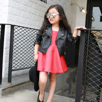 Autumn Kids Leather Jacket Girls Jacket Children Leather Outwear For Baby Girl