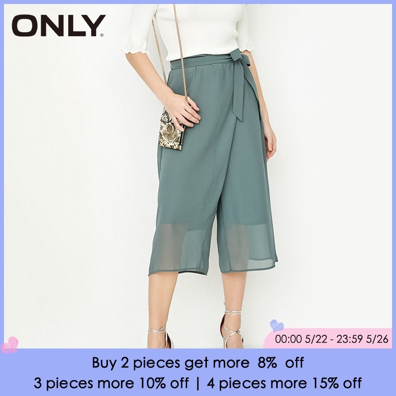 ONLY 2019 Spring Summer New Women's Lace-up Wide-leg Chiffon   Capri     Pants   |118119501
