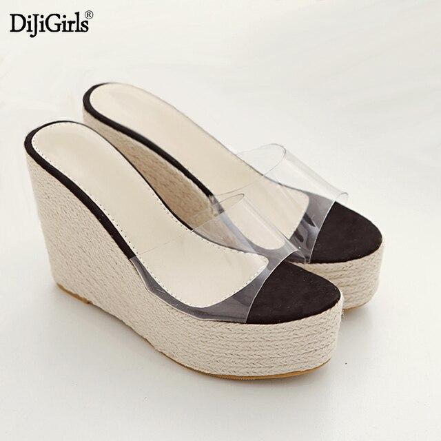 fd833424f5f5 L été clair tongs mode Lin tissage compensées femmes sandales talons  plate-forme Transparente