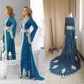 Piso longitud elegante Formal Abaya en Dubai caftán 2016 azul real de manga larga musulmán del vestido de noche en línea de gasa de encaje apliques