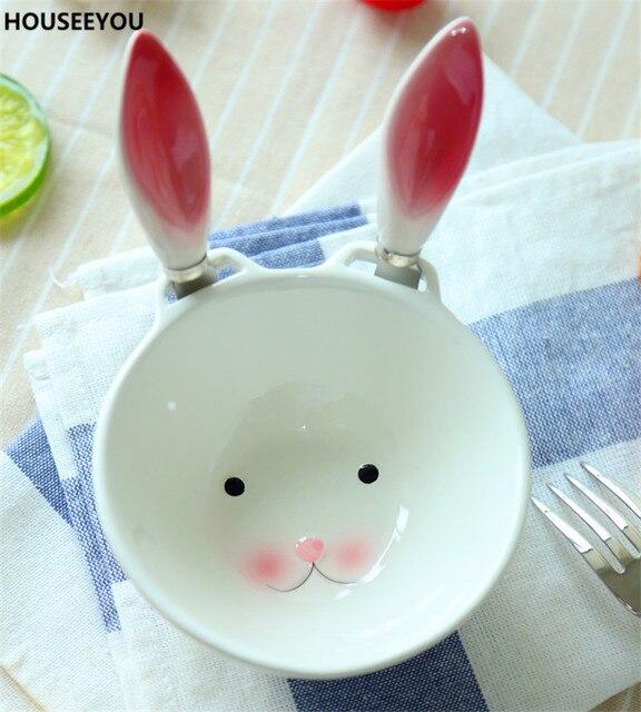 wei keramik kaninchen schalen eisbecher und 2 butter messer fr kinder haus tischdekoration geschirr esszimmer zubehr - Esszimmer Zubehor