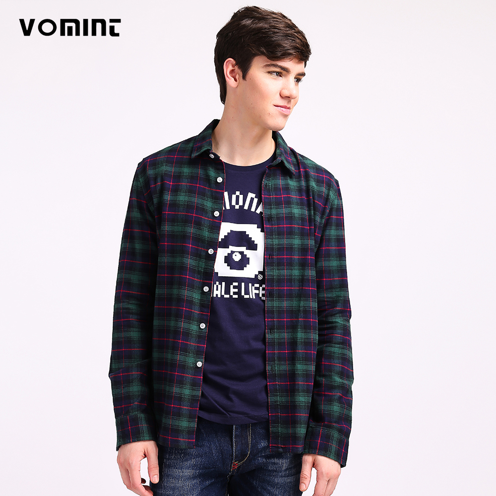 Mens Plaid Shirts Classic Design Slim Regular Cotton Fabric Sanded Twill Youth Campus Wash Shirt