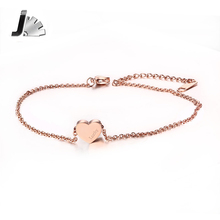 New Adjustable Lucky Bracelet & Anklets Rose Gold Color Stainless Steel Heart Love  Anklets For Women Jewelry Accessories