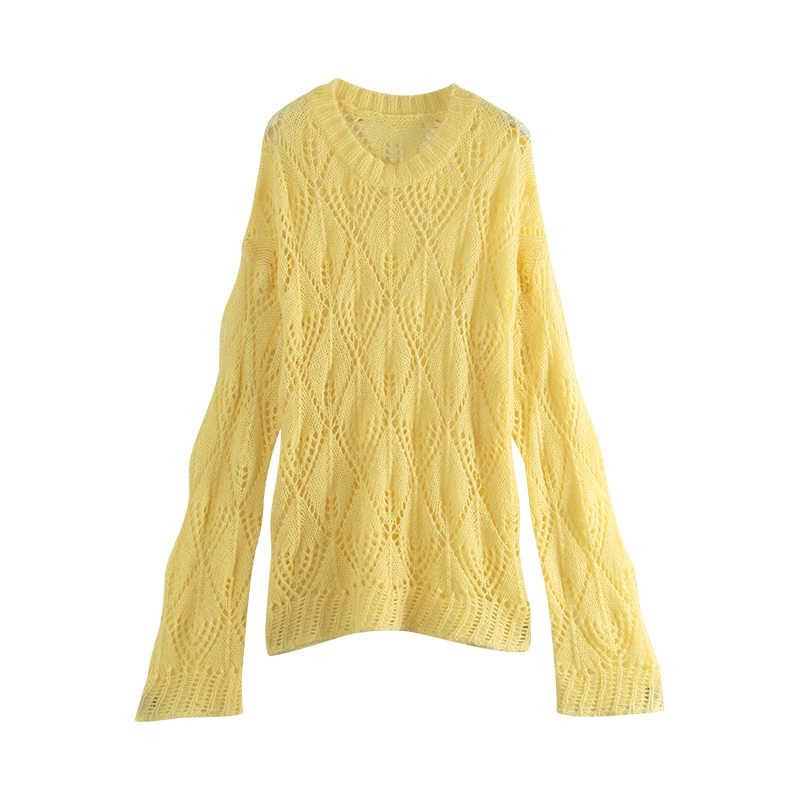 Toyouth ฤดูใบไม้ร่วง New Hollow Out แขนยาว O neck เสื้อกันหนาวเกาหลีสไตล์ผู้หญิงเสื้อกันหนาวสบายๆ