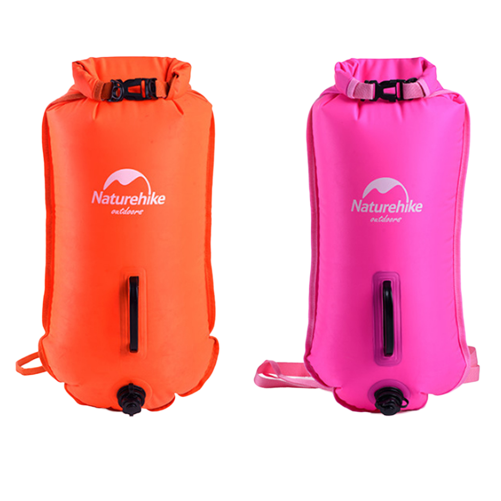 High Visibility Waterproof Inflatable Safety Swim Buoy Tow Float Dry Bag Waist Belt For Open Water Swimming SUP Kayak Canoe Surf
