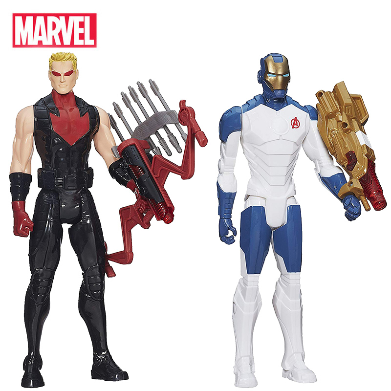 12'' Marvel Avengers Titan Hero Series Iron Man Hawkeye Spiderman With Weapon Collection Action Figures Gift Toys For Kid Boy