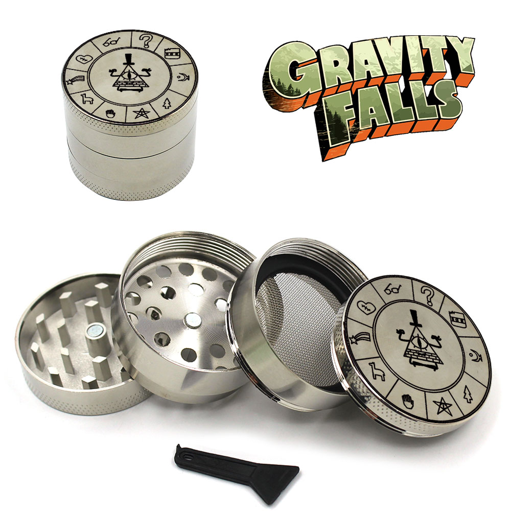 4-layers Magnetic Zinc Alloy Gravity Falls Bill Cipher Zodiac Symbol Spice Herbal Herb Tobacco Grinder Smoke Grinders Mens Gift