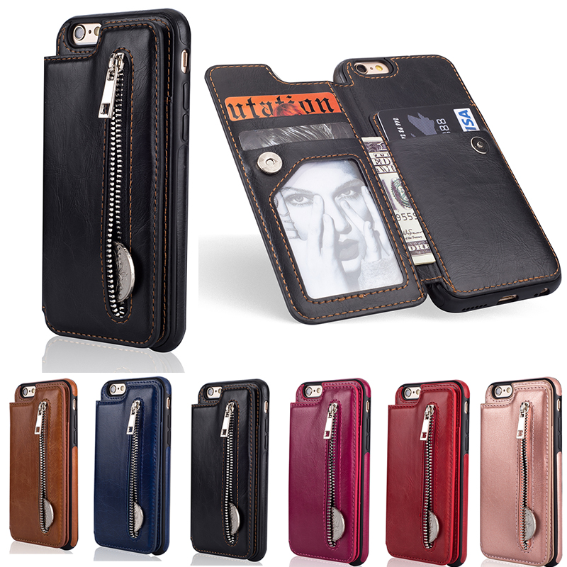 New Wallet PU <font><b>Leather</b></font> <font><b>Flip</b></font> <font><b>Case</b></font> For <font><b>iphone</b></font> 6 <font><b>7</b></font> 8 Plus X XS MAX XR Card Slot Zipper Storage Bag For Samsung S8/S9/Note 8/9 Cover image