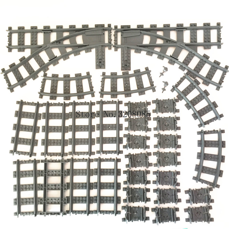 KAZI Train Track Building Bricks Plastic Rail Track for Train Straight & Curved & Furcal & Soft Educational Toys