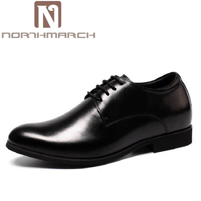 NORTHMARCH Genuine Leather Dress Formal Shoes Men Luxury Brand Elevator Leather Moccasin Glitter Flats (6cm Height Increasing) cbjsho brand men shoes 2017 new genuine leather moccasins comfortable men loafers luxury men s flats men casual shoes