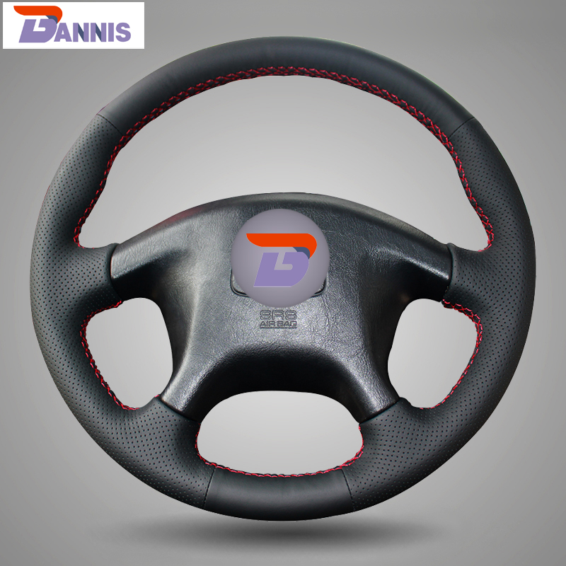 BANNIS Black Artificial Leather DIY Hand stitched Steering Wheel Cover for Mitsubishi Pajero Old Mitsubishi Pajero