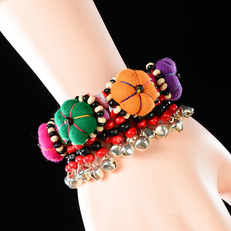 National style cloth handmade bells bracelets jewelry features  embroidery bracelet