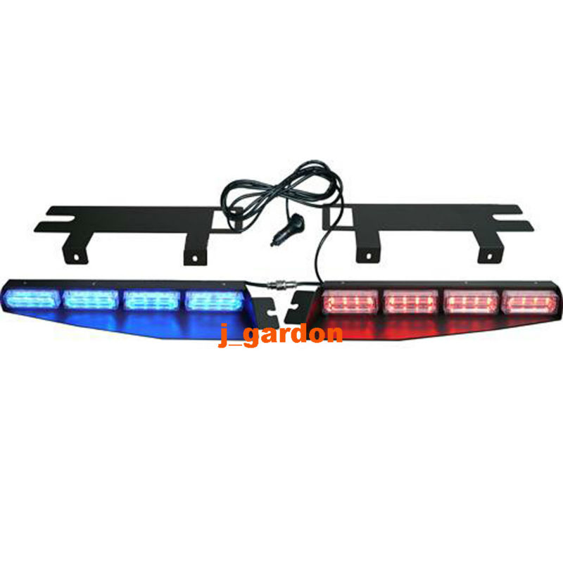 2-16 LED 96 Watt Red/Blue LightBar Car Truck Emergency Beacon LightBar Exclusive Split Visor Deck Dash Strobe Warning LightBar