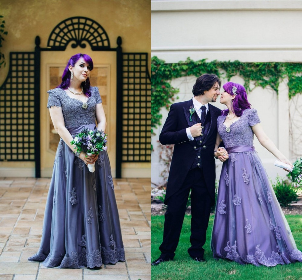 Gothic wedding shop - Casamento Halloween Purple Gothic Wedding Gowns Victorian A Line Long V Neck Bridal Dresses With Short Sleeves Appliques Beaded In Wedding Dresses From