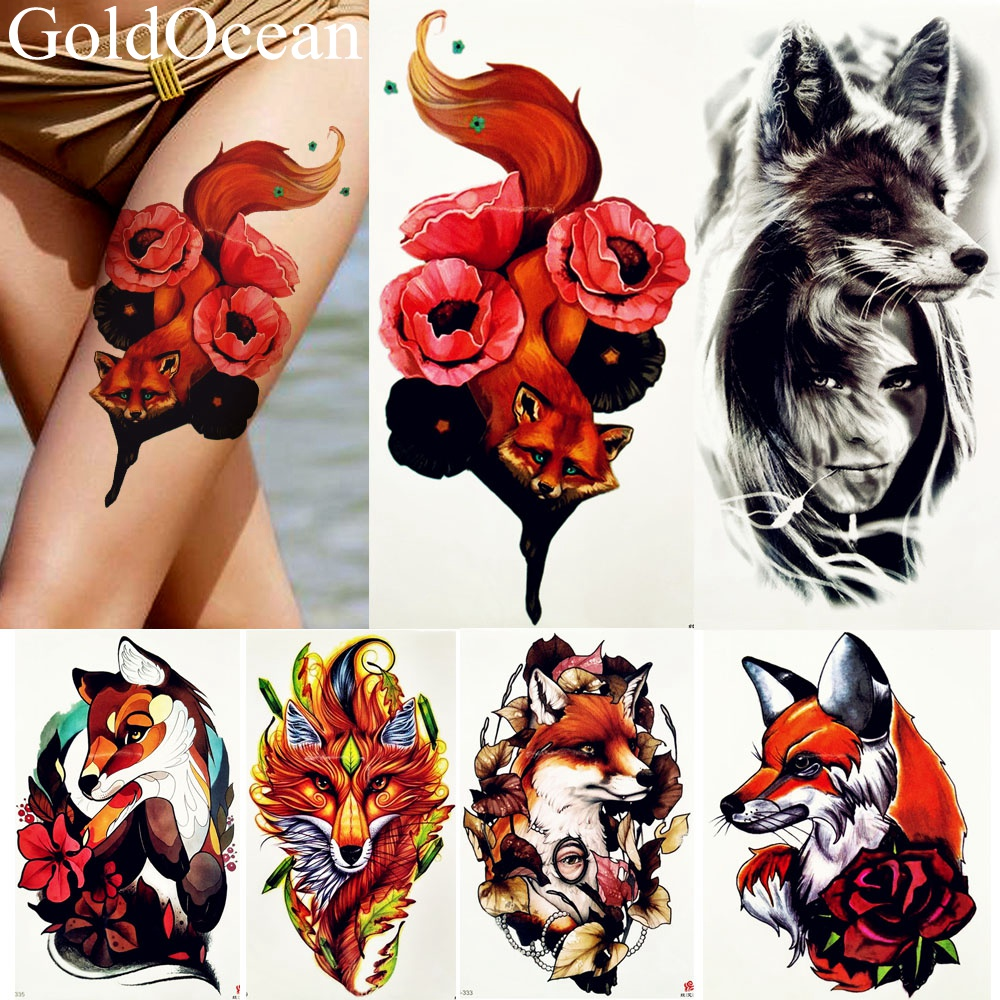 Red Fox Rose Tattoo Fake Watercolour Animals Tattoos Temporary Women Arm Legs Art Tatoos Girls Black Wolf Summer Style Stickers