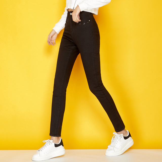 31d4da98803 LEIJIJEANS 2018 New Winter Thicken Black Jeans Eyelet Hollow Out denim Plus  Size L Casual Skinny