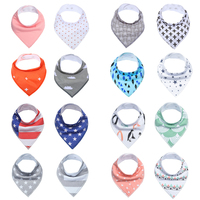 16pcs Cute Design Baby Bibs, Super Absorbent 100% Organic Cotton for Drooling Teething and Feeding Perfect Baby Newborn Gift set