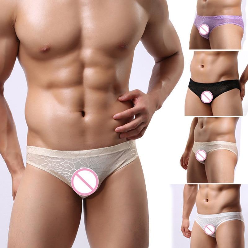 Men's Underwear Men's Briefs MX Sexy Lace Jacquard Transparent Underwear MXTHSJ