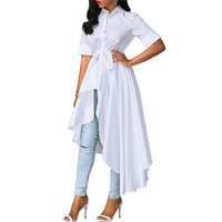 NEW White Asymmetrical Shirt Dress 2017 Autumn Turn Down Collar Half Sleeve Hi Low Maxi Dresses