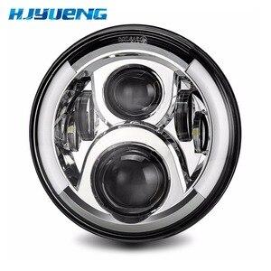 "Image 2 - 7""LED Headlight White Halo Car Angel Eyes DRL LED Projection Lens For Jeep JK LJ Tj Fj Cruiser Hummer MACK R Peterbilt Kenworth"