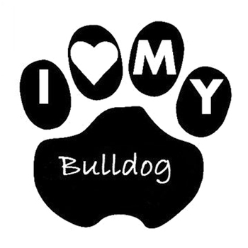 9.3cm*9.1cm I Love My Bulldog Paw Print Heart Vinyl Stickers Decals Exterior Accessories Decoration for BMW E36 E46 E49 E90 F20 image