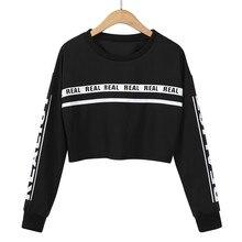 Women Fashion White Crop Sweatshirt Top Letter Print BlouseA