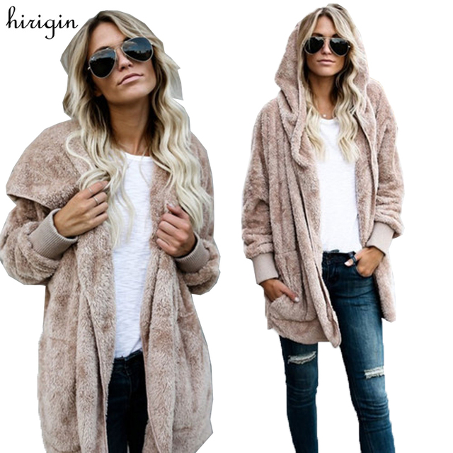 Women Quality Fleece Wool Thick Hooded Coat Hoodie Sweater Jacket Cardigan  Long Sleeve Outwear Plush Coats Casual 8c988fe8b