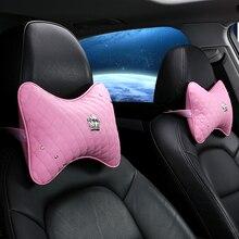KKYSYELVA Memory Foam Diamond Car Headrest Neck Pillows Interior Accessories Neck Cushion & Lumbar Support