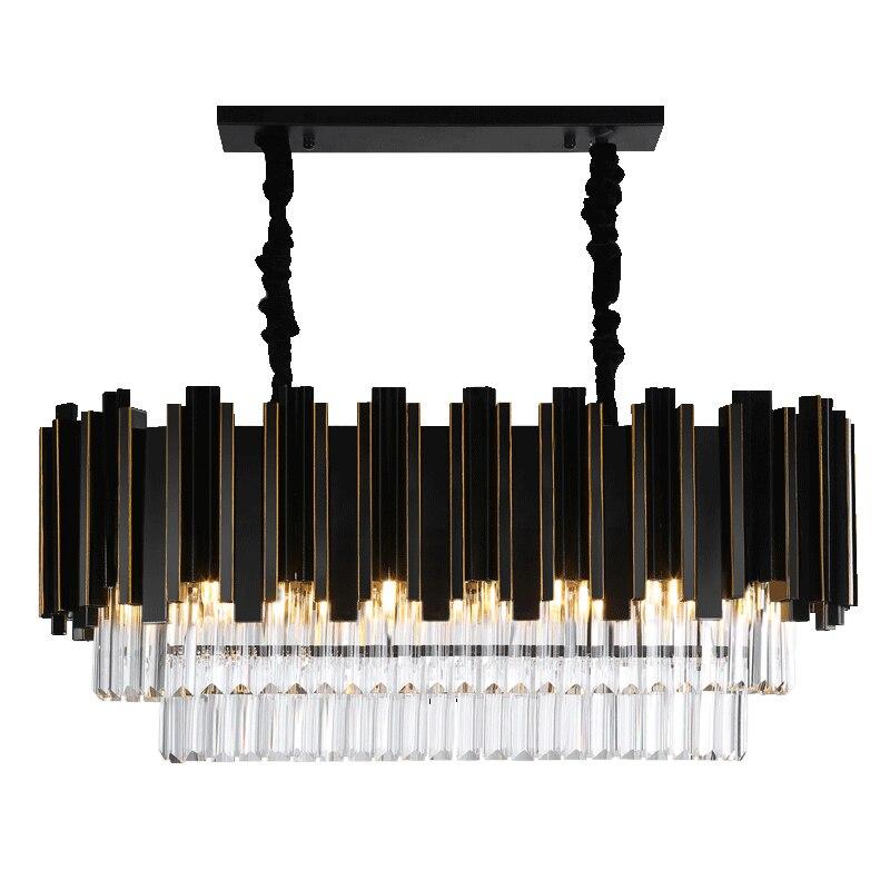 2018 De Luxe Moderne Rectangle Lustre En Cristal Noir Salle À Manger Suspendus AC110-240V Luminaires LED Lustres De Cristal